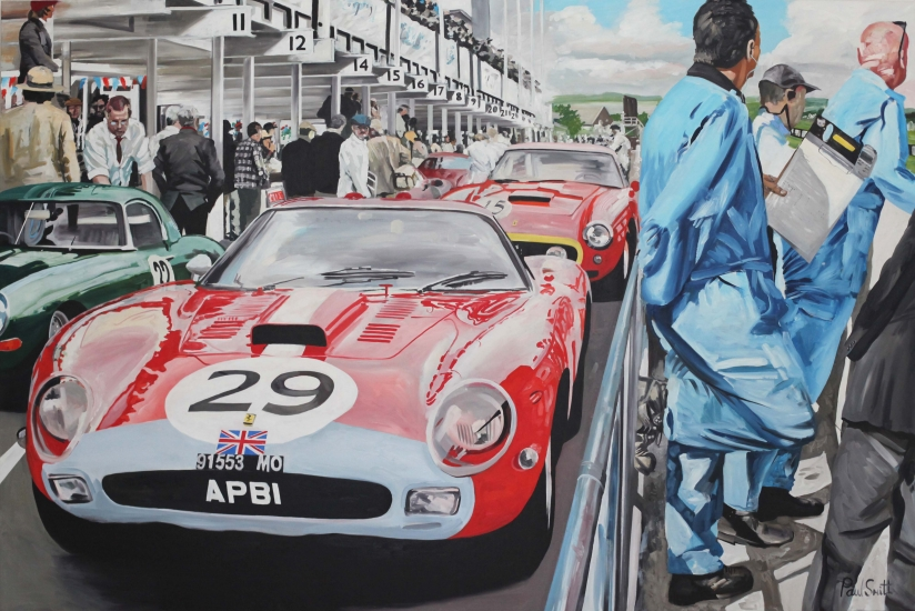 Goodwood TT 2014.|Ferrari in the pit lane.|Original oil on linen canvas painting by Paul Smith.|72 x 108 inches ( 183 x 275 cm).| � POA.