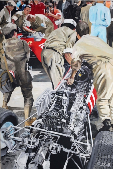 1965 Monaco GP,Ferrari V12 engine|1.5 litre masterpiece.|108 x 72 inches (275 x 183 cm).|Original oil on linen canvas. painting by Paul Smith.| Sold
