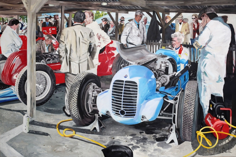 Maserati at Goodwood Revival.|Original OIl on Canvas painting by Paul Smith.|72 x 108 inches (183 x 275 cm).|� Sold