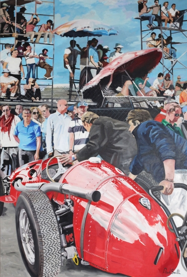 Spectators and 250F Maserati at Monza.|Original Oil on Linen Canvas painting by Paul Smith.|108 x 72 inches ( 275 x 183 cm).|SOLD