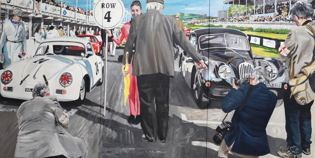 Porsche 356 and Jaguar XK 140, on the starting grid at Goodwood.|Original Oil on Canvas painting by Paul Smith.| Triptych,painted on 3 separate canvas.|72 x 144 inches ( 183 x 366 cm ).|� Sold