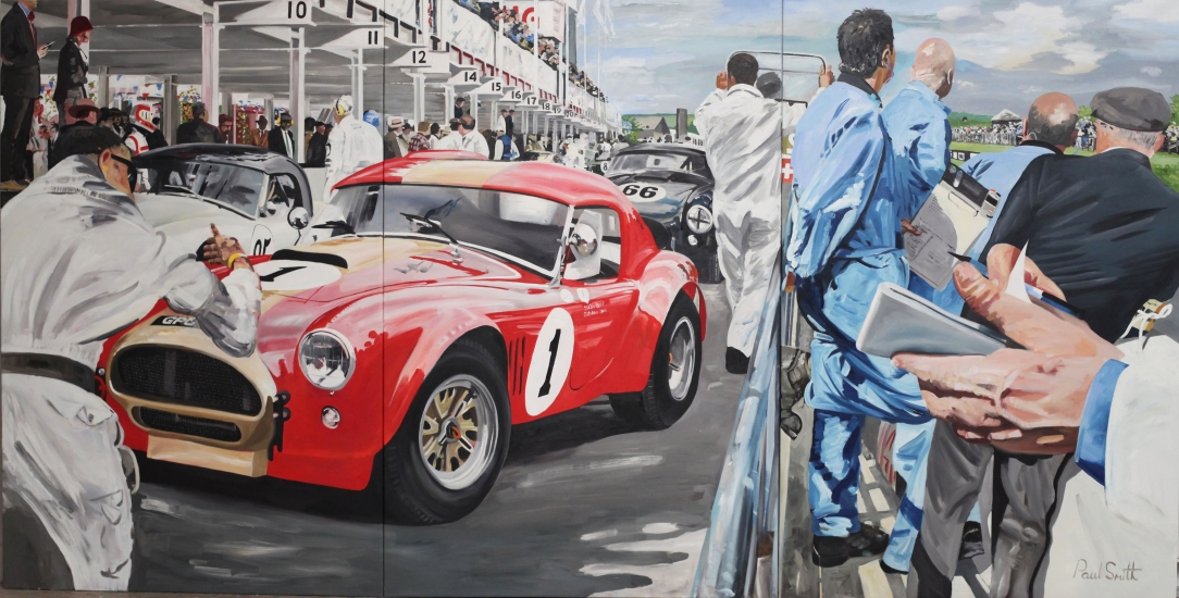 AC Cobra in the Pit lane at Goodwood.|Original Oil on Canvas painting by Paul Smith.| Triptych,painted on 3 separate canvas.|72 x 144 inches ( 183 x 366 cm ).|� Sold