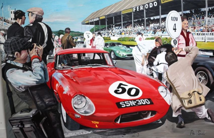 Jaguar E type at Goodwood Revival TT Celebration 2014.|Original Oil on Canvas painting by Paul Smith.|72 x 108 inches ( 283 x 275 CM ).|� Sold