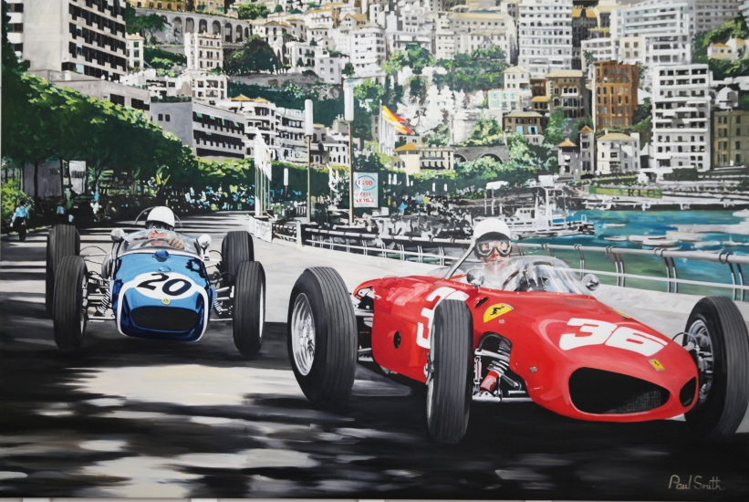 Monaco PG 1961,Stirling Moss about to take the lead in his Lotus 18,from Richie Ginther in a Ferrari 156.|Original oil paint on linen canvas by artist Paul Smith.|72 x 108 inches (183 x 275 cm).|POA. Sold