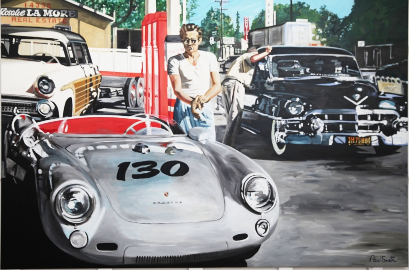 James Dean in a petrol station with his Porsche 550 Spyder.|Original oil paint on linen canvas by artist Paul Smith.|72 x 108 inches ( 183 x 275 cm).|POA. Sold