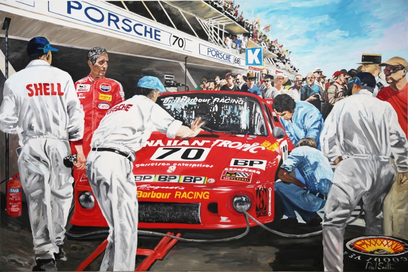 1979 Le Mans,pit stop Porsche 935T. Paul Newman,Dick Barbour and Rolf Stommelen.  Original oil paint on linen canvas by artist Paul Smith. 72 x 108 inches ( 183 x 275 cm). POA. Sold.