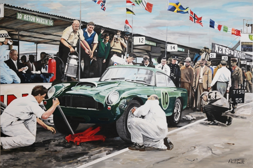 Aston Martin DB4 GT,Goodwood Pit Stop.|Original Oil on Canvas painting by Paul Smith.|72 x 108 inches (183 x 275 cm).|� Sold.