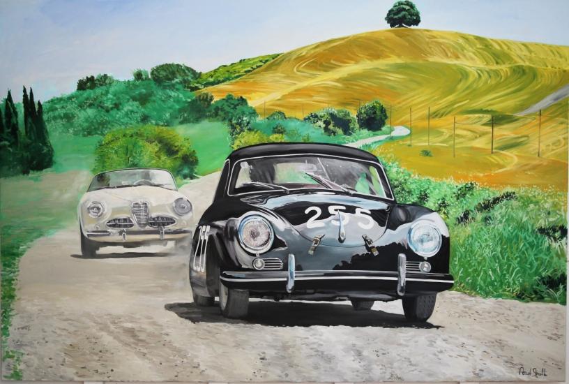 1956 Mille Miglia Porsche 356.|Original Oil on Linen Canvas painting.|72 x 108 inch (183 x 275cm).|For sale � SOLD