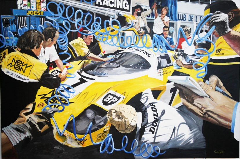 Le Mans 1985 Jost racing Porsche 956, Klaus Ludwig and Jon Winter.| Original Oil on Linen Canvas painting by Artist Paul Smith.| 72 x 108 inches (183 x 275 cm).| For Sale �POA