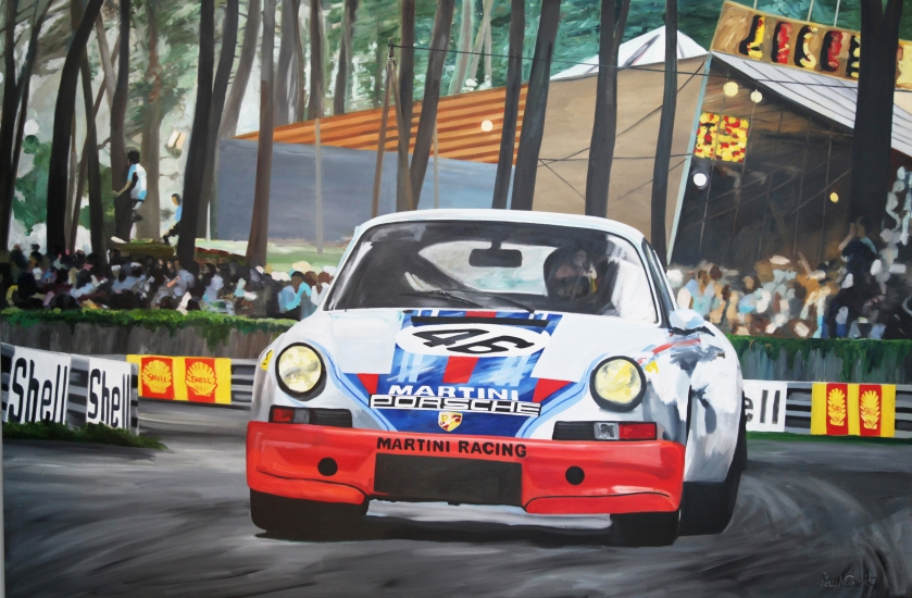 1973 Le Mans Martini Racing Team Porsche 911 Carrera RSR.| Original Oil on Linen Canvas by Artist Paul Smith.| 72 x 108 inches (183 x 275 cm).| For Sale �SOLD