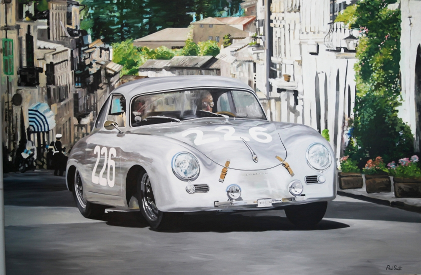 1954 Mille Miglia Porsche 356.| Original Oil on Linen Canvas Painting by Artist Paul Smith.|72 x 108 inches (183 x 275 cm).| For Sale �SOLD