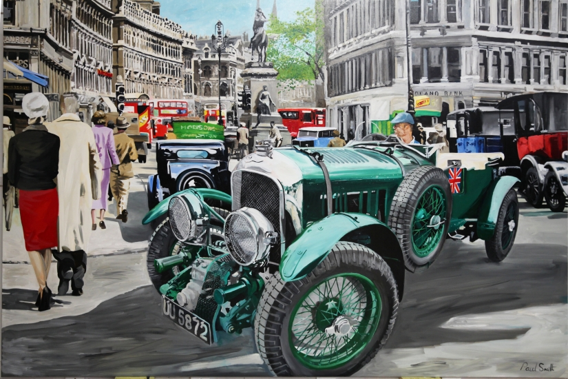 Blower Bentley on Holborn High Street, London ca 1930.|Original oil on linen canvas painting by artist Paul Smith.|72 x 108 inches (.183 x 275 cm).|SOLD �