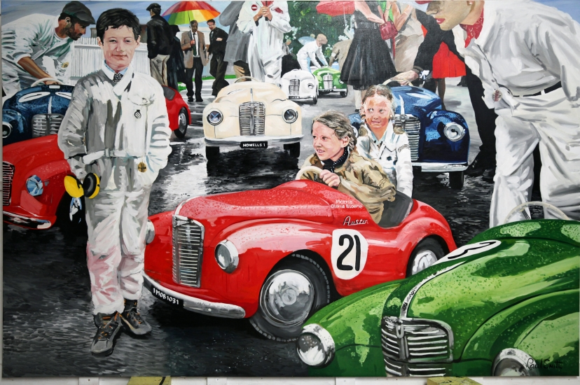 Settringen Cup Goodwood Revival.|Come on Morris,can we go now?|Oil on linen canvas painting by artist Paul Smith.|72 x 108 inches ( 183 x 275 cm).|SOLD �