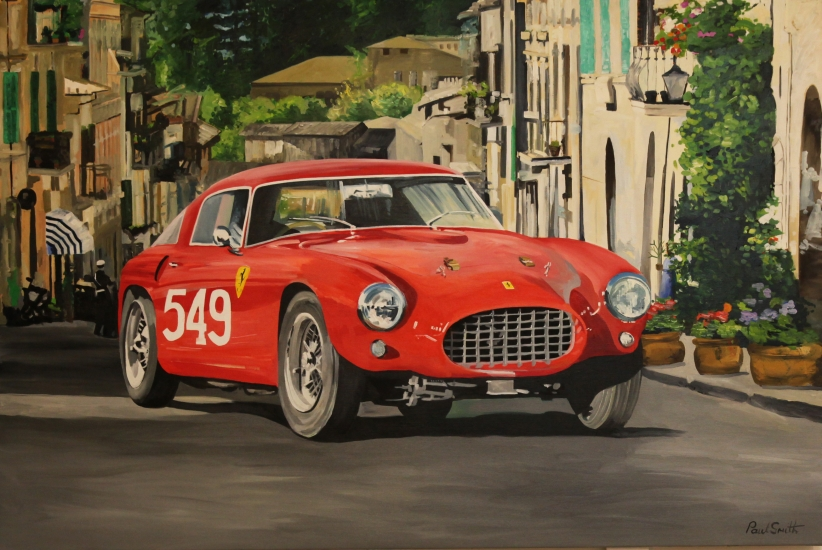 1954 Mille Miglia, Ferrari 250 MM.|Original oil on linen canvas painting by artist Paul Smith.|48 x 72 inches ( 122 x 183 cm).|Sold