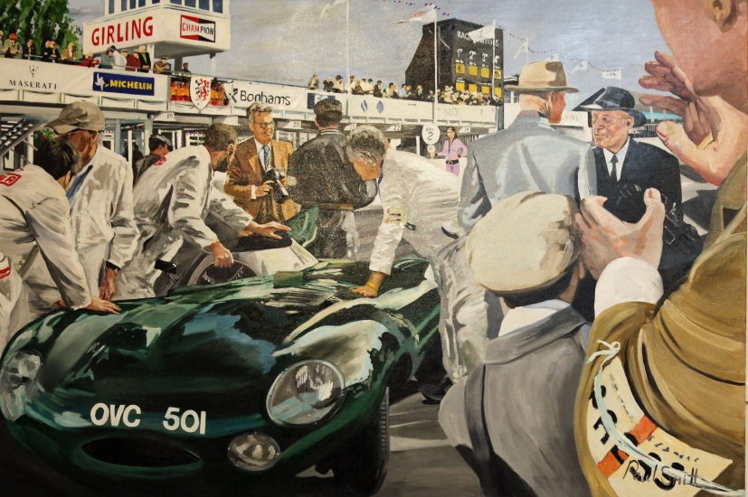 Sir Stirling Moss at Goodwood Revival 2010, with Jaguar D Type.|Original oil on canvas painting by artist Paul Smith.|48 x 72 inches (122 x 183 cm ).|SOLD �