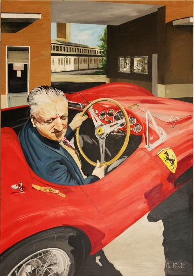 Enzo Ferrari, test driving a 500TRC.|Original oil on linen canvas painting by artist Paul Smith.|79 x 55 inches (200 x 140 cm ).|POA �.