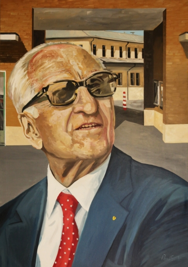 Enzo Ferrari.|Original oil on canvas painting by artist Paul Smith.|79 x 55 inches (200 x 140 cm).||POA �
