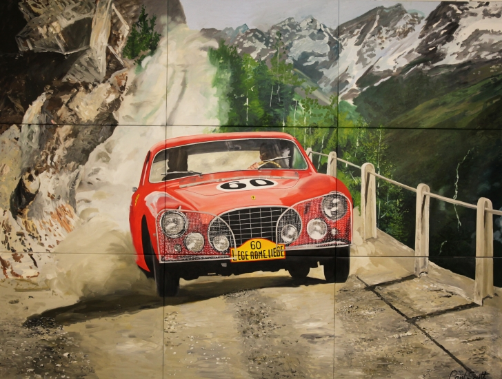 Ferrari 250 Europa on a mountain road on it's way for a fantastic 3rd place in the 1955 Liege Rome Liege rally.|Driven by Oliver Gendebien and Pierre Stasse.|Multi canvas painting,9 seperate canvases mounted together.|Original oil on canvas painting by artist Paul Smith.|POA �