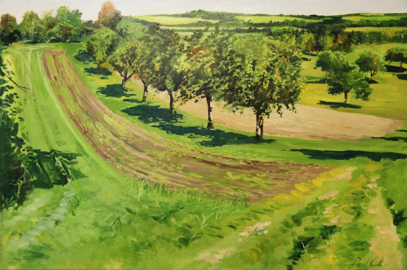 Fruit treas near Monsheim,( Heckengaeo).|Original oil on linen canvas painting by artist Paul Smith.|Dimensions 24 x 36 inches ( 62 x 91 cm).|� POA