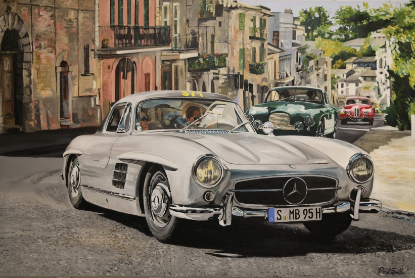 Mercedes 300 SL Gullwing,Mille Miglia,Ronciglione italy.|Original oil on canvas painting by artist Paul Smith.|Dimensions 72 x 108 inches (183 x 275 cm).|SOLD