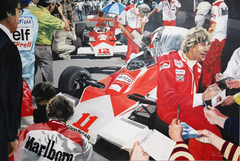 Paddock scene British GP 18 July 1976, James Hunt signing autographs.|Original oil on linen canvas painting by artist Paul Smith|72 x 108 inches ( 183 x 275 cm).| � Sold