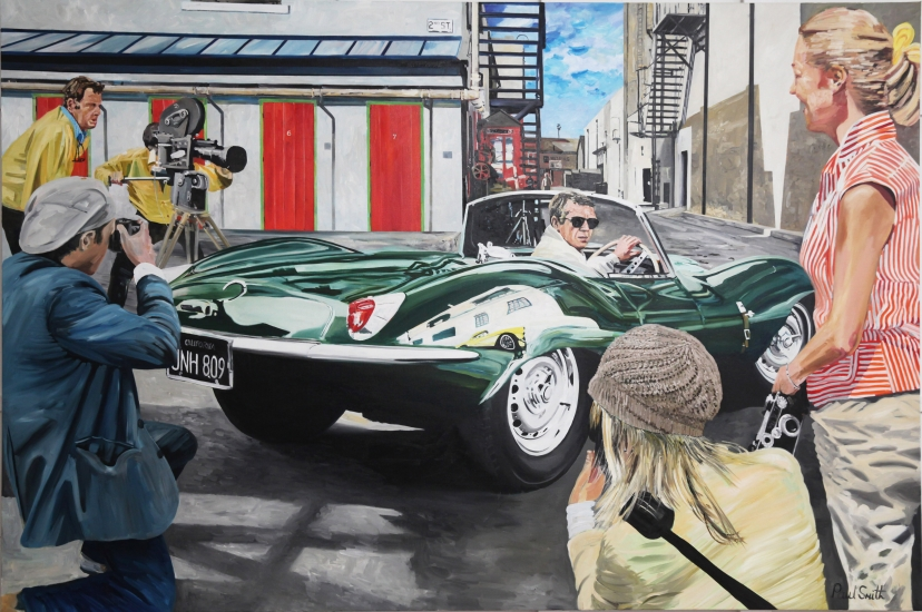 Steve Mcqueen driving  a Jaguar XKSS at California  film Studio June 1963.| Original oil on linen canvas painting by artist Paul Smith.|72 x 108 inches (183 x 275cm).|�Sold