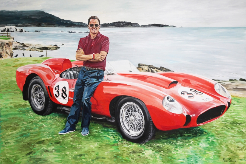 Tom Hartley Jnr. with Ferrari 250 Testa Rossa chassis No 0704 at Pebble Beach 2014.|Original oil on linen canvas painting by artist Paul Smith.|72 x 108 inches (183 x 275 cm)� Sold.