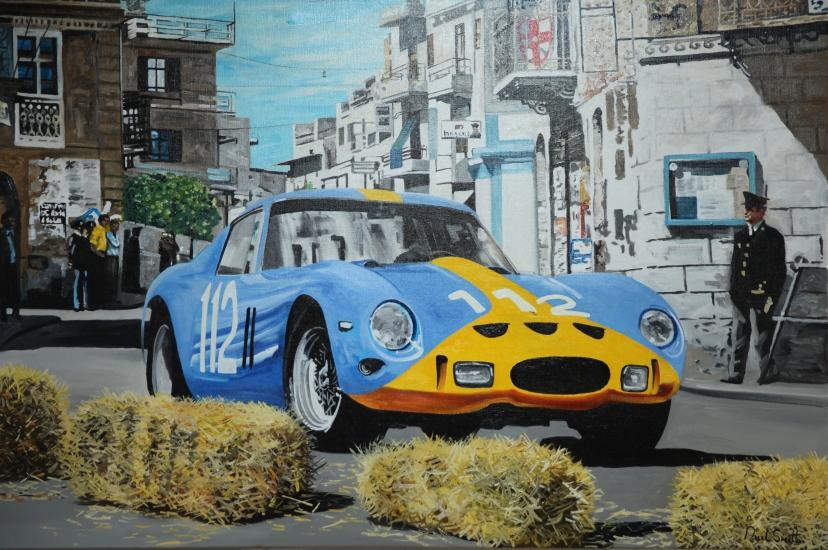 1964 Targa Florio,Ferrari 250 GTO.|Original oil on Linen canvas painting by Artist Paul Smith.|36 x 54 inches (91 x 137cm).|£ POA