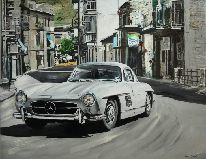 Mercedes 300SL Gullwing in the Mille Miglia.|Original oil on linen canvas painting by Artist Paul Smith.|46  x 60 inches (117 x 152 cm).|£ Sold