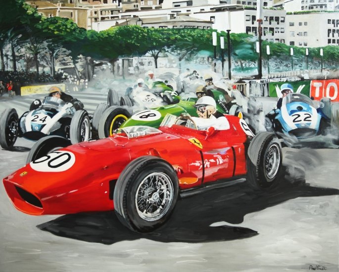1959 Monaco GP, Ferrari 246 Dino,Cooper T5and Lotus16.|Original oil on linen canvas painting by Artist Paul Smith.|48 x 60 inches (122 x 152 cm).|£ Sold