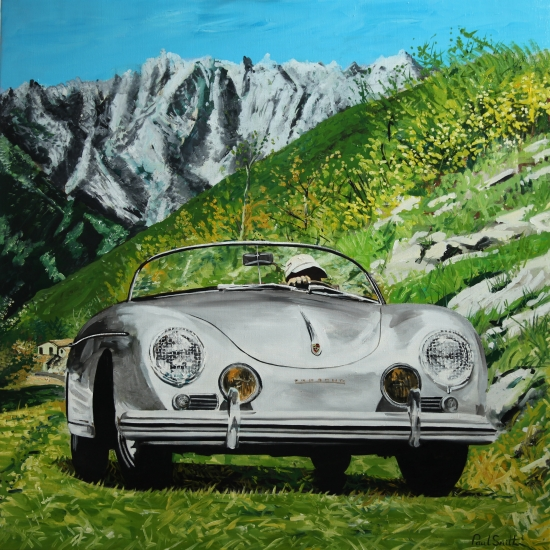 Porsche 356 Speedster in the Dolomite.|Original oil on linen canvas painting by Artist Paul Smith.|46 x 46 inches ( 117 x 117 cm).|£ Sold
