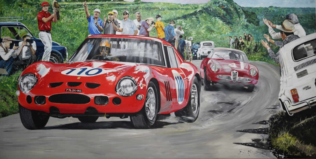 Targa Florio 1964, Ferrari 250 GTO and Alfa Romeo.|Original oil paint on linen canvas painting by Artist Paul Smith.|150 x 300 cm.|Price € . Sold