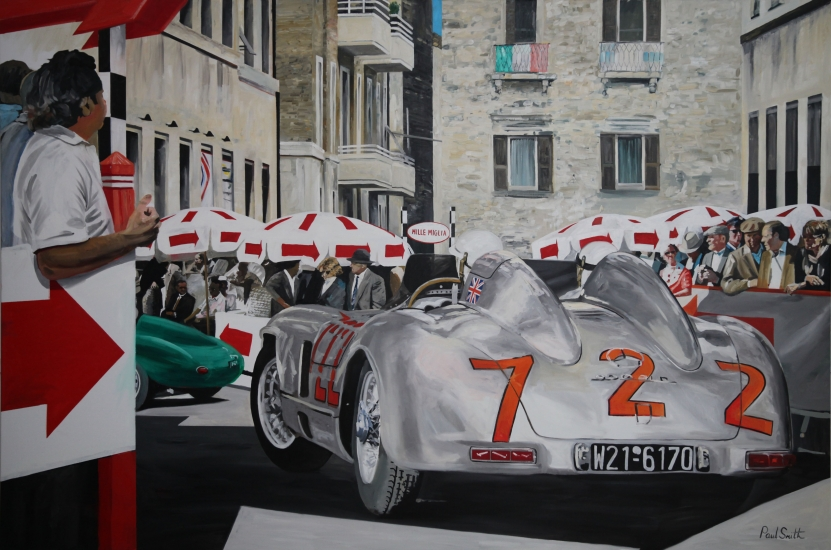 1955 Mille Miglia, |S.Moss-D.Jenkinson,Mercedes 300SLR.|Original oil on canvas painting by artist Paul Smith.|Dimensions 72 x 108 inches(183 x 275cm).|� SOLD.