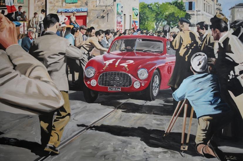 1951 Mille Miglia.|F. Cornacchia -G.Mariani, Ferrari 212 Export Berlinetta Vignale.|Original oil on canvas painting by artist Paul Smith.|Dimensions 72 x 108 inches(183 x 275cm).|£ SOLD.