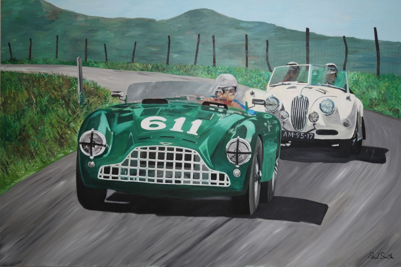 Mille Miglia.|Aston Martin DB3 and Jaguar XK120.|Original oil on canvas painting by artist Paul Smith.|Dimensions 72 x 108 inches(183 x 275cm).|� SOLD.