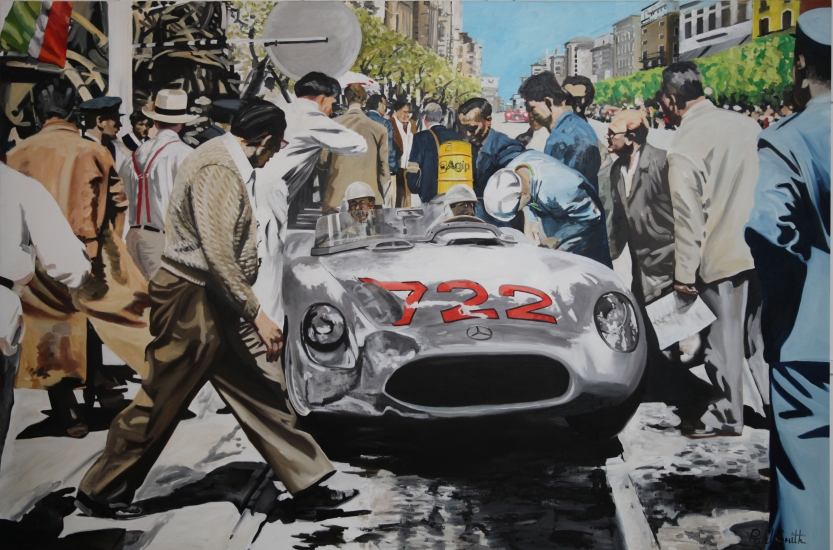 1955 Mille Miglia.|S.Moss-D.Jenkinson,tyre change and fuel Mercedes 300SLR.|Original oil on canvas painting by artist Paul Smith.|Dimensions 72 x 108 inches(183 x 275cm).|� SOLD.