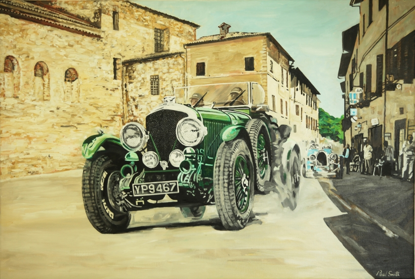 Commision painting for a smaller version that has been sold.|Mille Miglia  Bentley 6.5 Litre 1926.|Originla Oil Painting on linen canvas,|by Artist Paul Smith.80 x 120 cm.|Sold