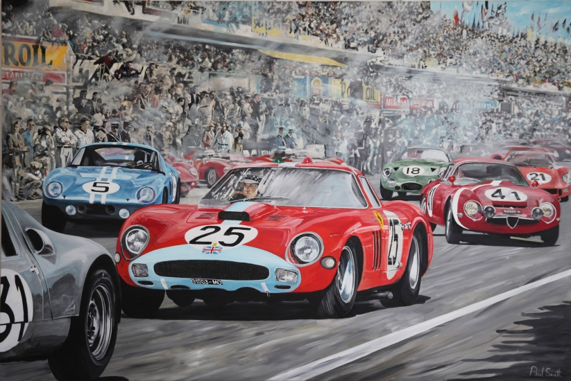 1964 Le mans.|Start with Ferrari 250 GTO.|Original oil on linen canvas painting by artist Paul Smith.|72 x 108 inches (183 x 275 cm).|Sold