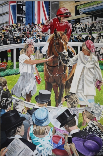 Eagle Top wins 2014 King Edward VII Stakes under William Buick.|Original oil painting on linen canvas.|By artist Paul Smith.|108 x 72 inches (275 x `83 cm).|Reserved