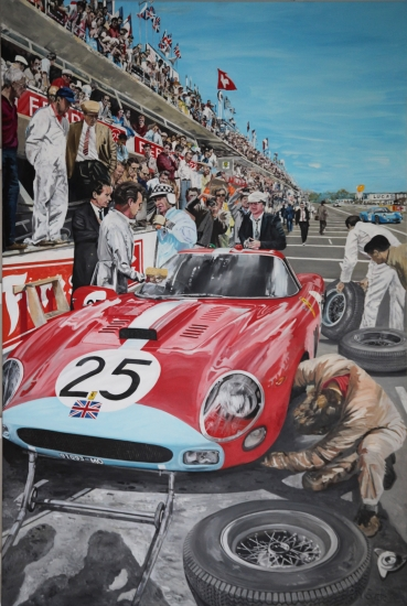 1964 Le Mans.|Pit Stop with Ferrari 250 GTO and driver Innes Ireland.|Original oil on linen canvas painting by artist Paul Smith.|108 x 72 inches (275 x 183 cm).|Sold