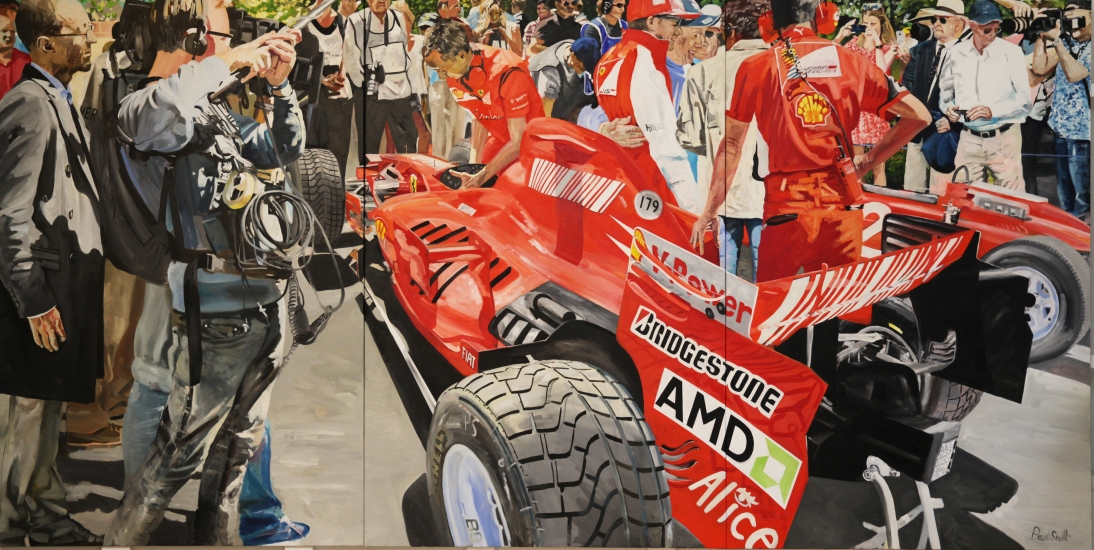 Televised interview with Kimi Raikkonen & John Surtees..|driving Ferrari  F2007 & Ferrari 158 at Goodwood Festival of Speed 2014.|  Original oil on Linen Canvas  painting by Paul Smith.|Triptych, painted on 3 separate canvas.|72 x 144 inches (183 x 366 cm).|For sale � Sold