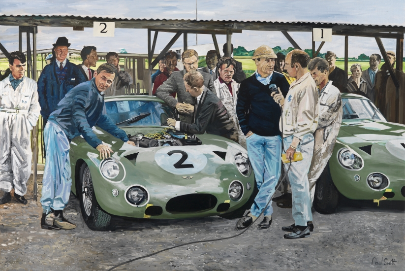 Aston Martin DP 214 Prototype,Stirling Moss, Innes Ireland & Bruce McLaren at Goodwood.|Original Oil on canvas painting by Paul Smith.| 72 x 108 inches, ( 183 x 275 cm).|� Sold.