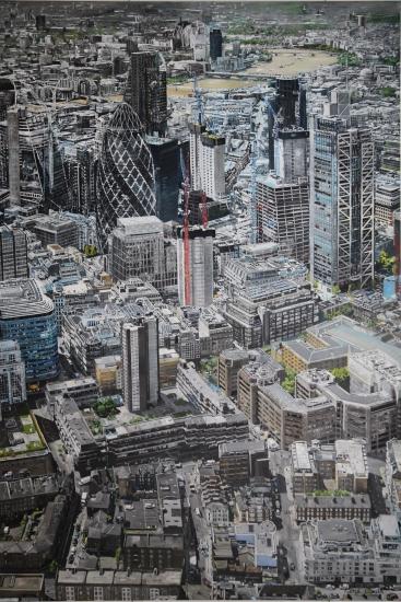 London City View.|Original oil paint on Linen Canvas painting by artist Paul Smith.|H108 x L72 inches (H275 x L 183 cm).|£ POA.
