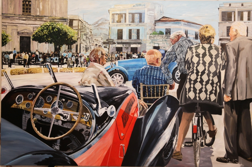 Mille Miglia.|Roadside view with two Bugatti.|Original oil on canvas painting by Artist Paul Smith.|72 x 108 inches (183 x 275 cm).|£ POA.