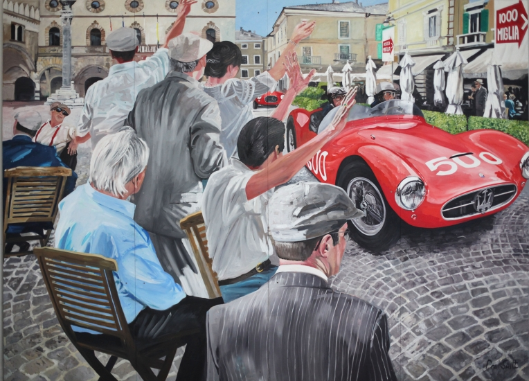 Mille Miglia 1954.|JD Classics,Mount Row,Mayfair,London.|Mural,Original Oil on Panel.|102 x 146 inches ( 260 x 370 cm).|� Sold