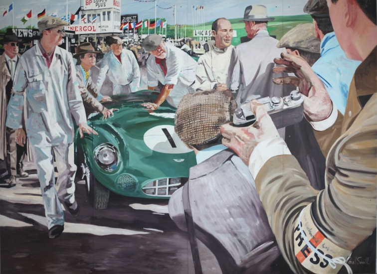 Goodwood TT 1959.|JD Classics,Mount Row,Mayfair,London.|Mural,Original Oil on Panel.|102 x 146 inches (260 x 370cm).|� Sold