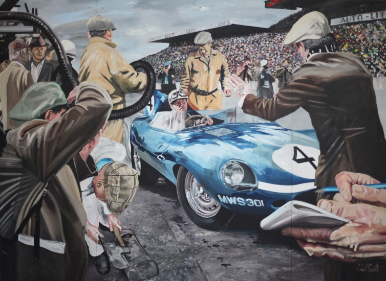 Le Mans 1956.|JD Classics,Mount Row,Mayfair,London.|Mural,Original Oil on Panel.|102 x 146 inches (260 x 370cm).|� Sold