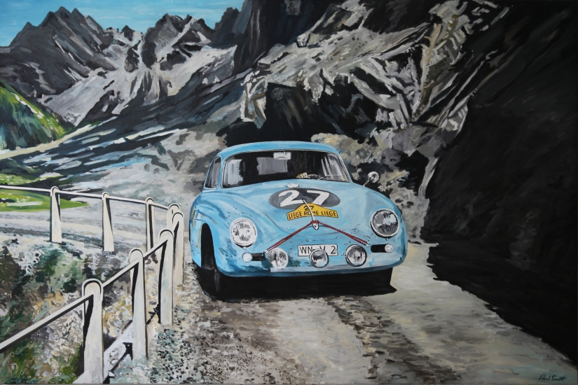 Commission painting of a smaller version of a previous painting.| Porsche 356 A Carrera.|On a mountain road on its way to fabtatstic win in the 1959 Liege Rome Liege Rally.|Driven by Paul Ernst Strahler and Robert Buchet.|122 x 183 cm.|Sold.