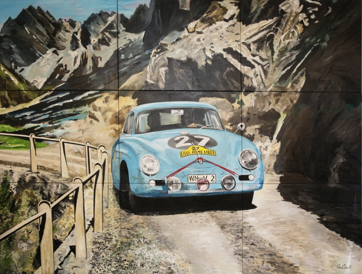 Porsche 356 A Carrera,on mountain road on its way for a fantastic win in the 1959 Liege Rome Liege rally.|Driven by Paul Ernst Straehle & Robert Buchet.|Orignal Oil on Linen Canvas painting by Artist Paul Smith.|Multi canvas painting,on 9 Canvases.|Overall : 275 x 366 cm ( 108 x 144 inches).|� POA