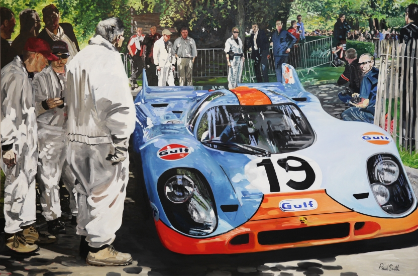 Porsche 917 K at Goodwood Festival of Speed 2014.|Original oil on Linen Canvas painting by Paul Smith.|72 x 108 inches ( 183 x 275 cm).|For sale � Sold